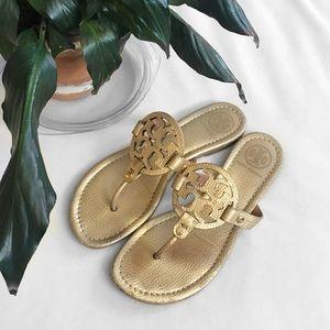 Tory Burch Gold Metallic Miller Logo Sandals